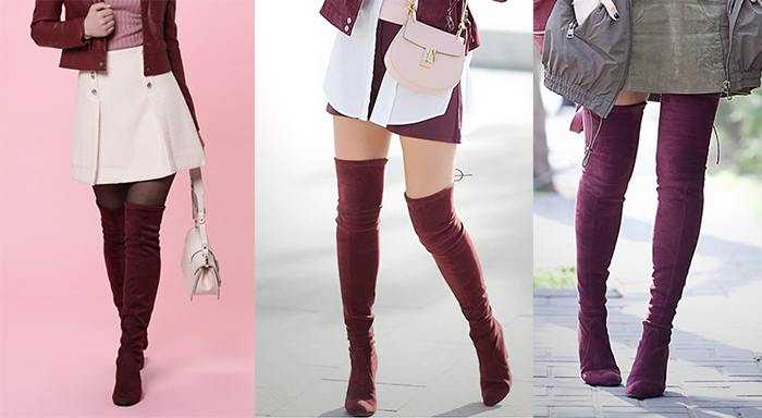 ботфорты чулки марсала вишневый цвет бордовые ноги стройные