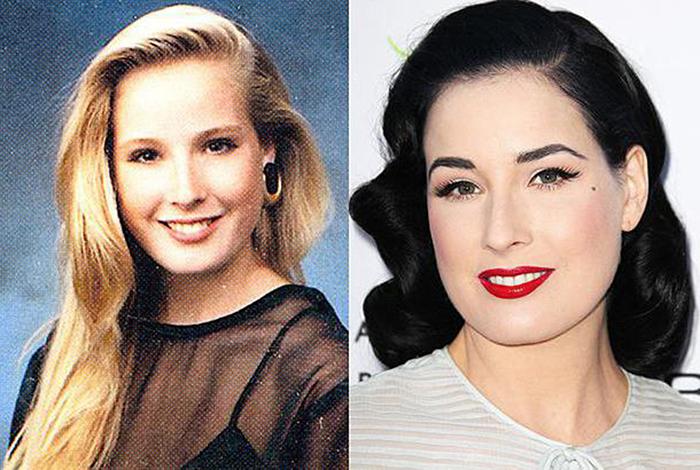 дита фон тиз до и после в молодости без макияжа