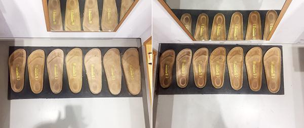 биркеншток подошвы в ряд на полу для измерения размера в магазине