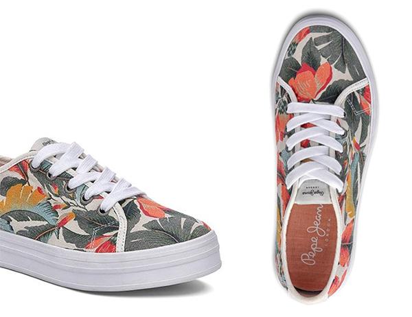 кеды кроссовки принт листья цветы растительный тропический купить обзоры модные цвета тренды широкая стопа