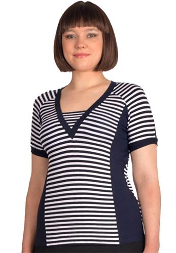 футболка кофточка трикотажная полосатая комбинированная синяя белая русский трикотаж подкройные бока