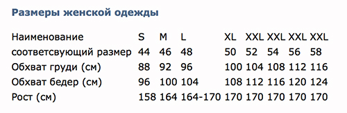 размерная сетка одежда производитель российский ростовка