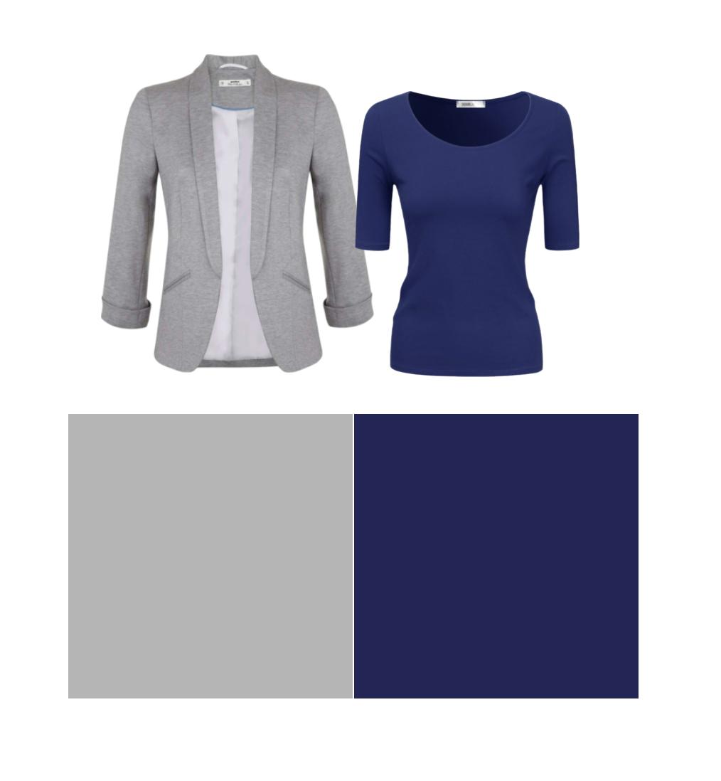 сочетание синего и серого в одежде