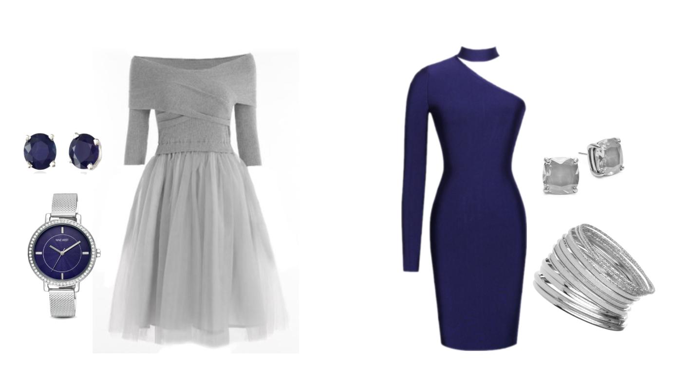 синий серый платья украшения акценты