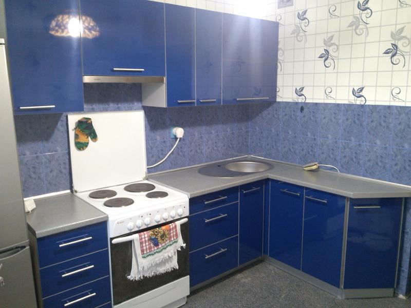 кухня синий серый