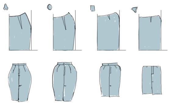 Квадратная выкройка юбки