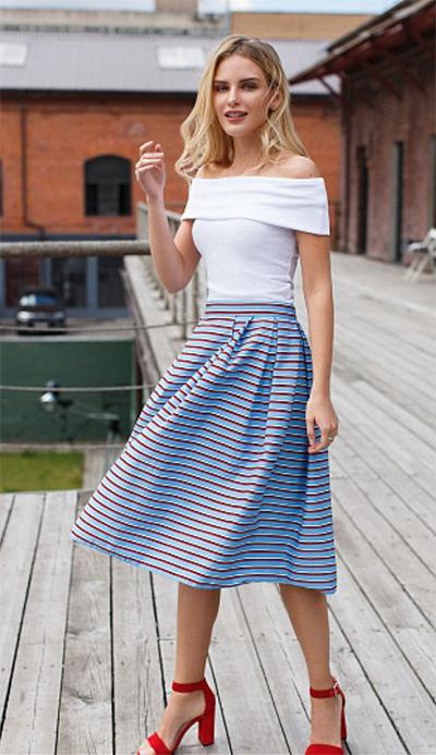 летняя юбка широкая в полоску