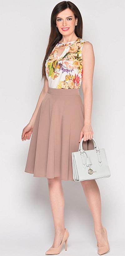 песочного бежевого цвета юбка широкая офисная