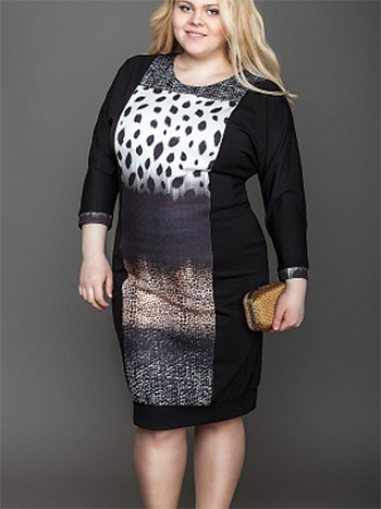 платье принт подкройные бока увеличение груди