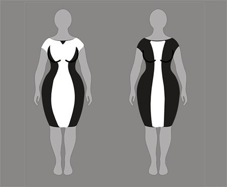 платья с подкройными боками, зрительные иллюзии