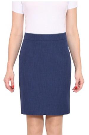 прямая синяя базовая юбка карандаш