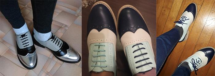 ботинки оксфорды на женской ноге цветные комбинированные как носить