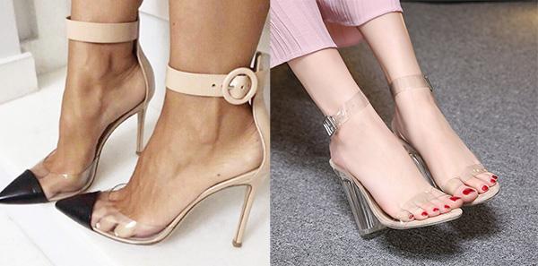 туфли и босоножки с прозрачными вставками из пластика или плексеглаза