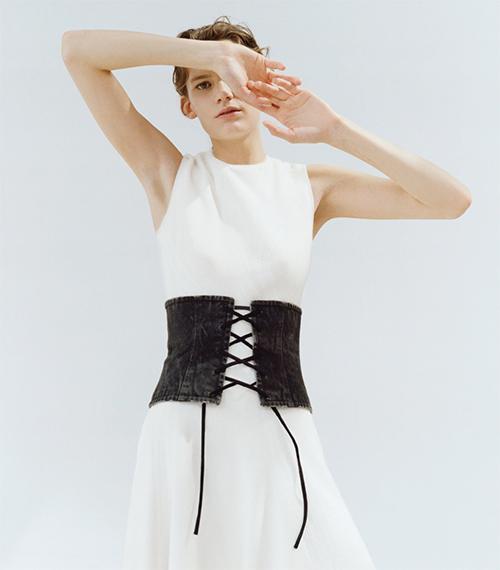 prada corset belt прада пояс корсет джинсовый шнуровка тренд