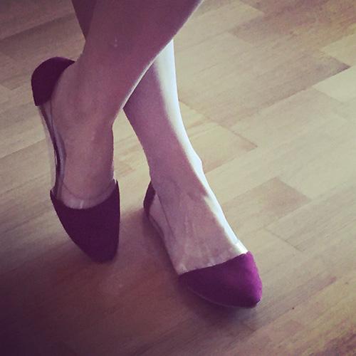 балетки прозрачные вставки контрастный нос на ноге