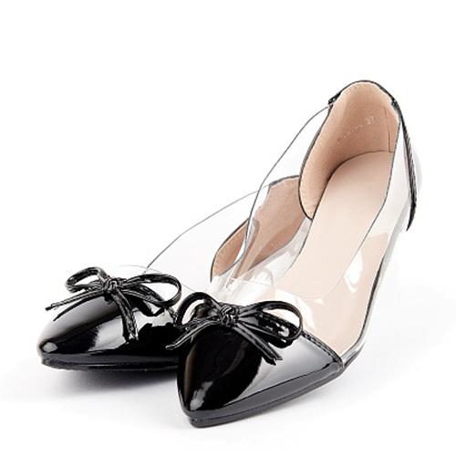 балетки черные контрастный нос прозрачная вставка