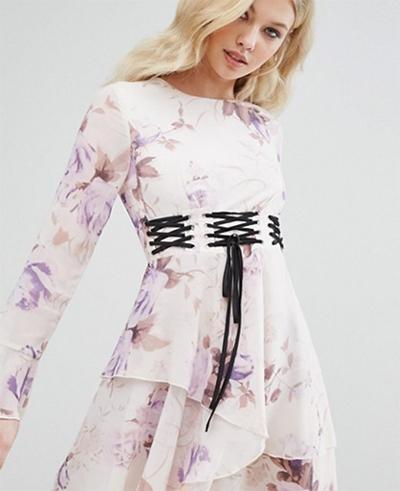платье романтичное цветочный принт шнуровка корсет