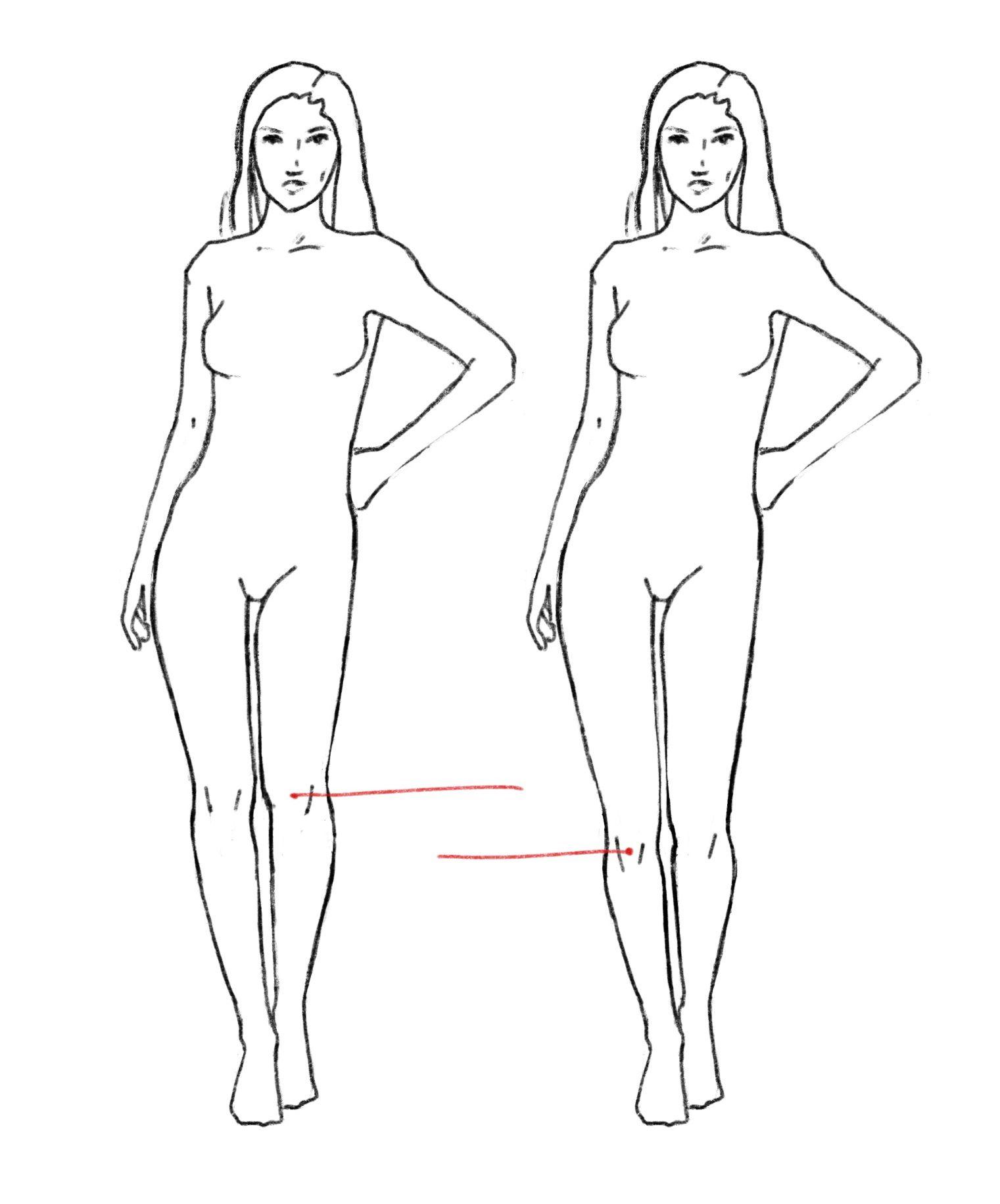 Как расположение коленей влияет на восприятие длины ног
